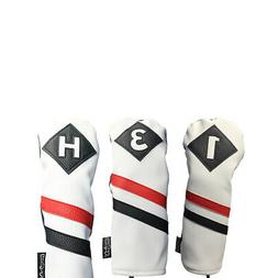 Majek Golf 1 3 H Driver Wood & Hybrid Headcover White Red Bl