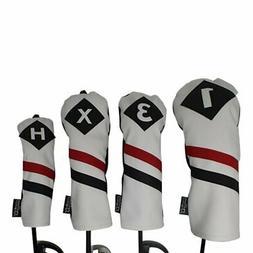 Majek Golf 1 3 X H Driver Woods & Hybrid Headcover White Red