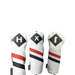 Majek Golf 1 X H Driver Wood & Hybrid Headcover White Red Bl