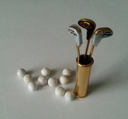 #1028 Mini Golf Bag,3 Clubs &10 Wood Balls ~Great in Dept 56
