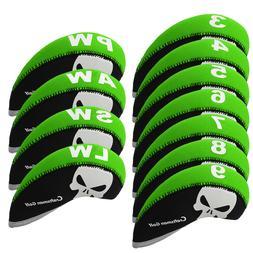 11Pcs/set Golf Clubs Iron Head Covers Headcovers Skull Print