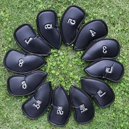 12 PCS PU Leather Golf Iron Head Covers Club Putter Headcove