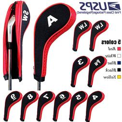 12Pcs/set Golf Clubs Iron Head Covers Headcovers with Zipper
