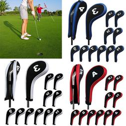 12Pcs/Set Number Print Golf Club Iron Head Cover With Zipper