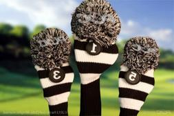 3 Pc MAJEK BLACK WHITE classic KNIT Pom Pom golf clubs Headc
