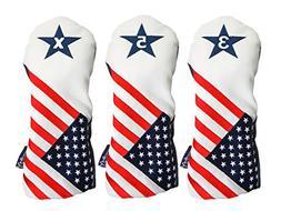 USA 3, 5, X Headcover Patriot Golf Vintage Retro Patriotic F