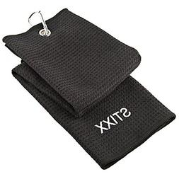 STIXX Tri-Fold Microfiber Golf Towel. Light Weight & Quick D