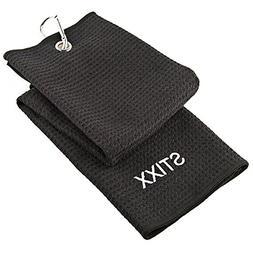 STIXX Tri-Fold Microfiber Golf Towel. Light Weight & Quick D