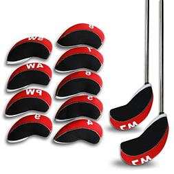 Casar Golf 11PCS 4#-Lw Red & Black Neoprene Golf Iron Covers