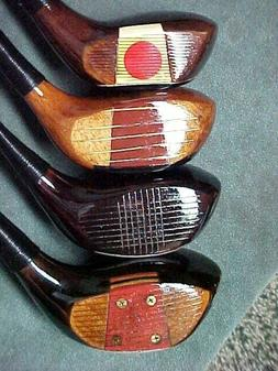 4 Old PERSIMMON Golf Clubs Woods Drivers Spalding Wilson Mac