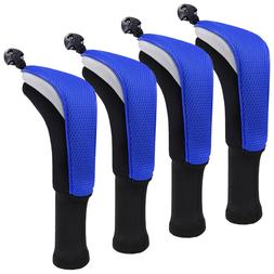 4pcs Golf Hybrid Club Head Covers Set of 4 with Interchangea