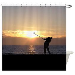 CafePress - Playing Golf At Sunset - Decorative Fabric Showe