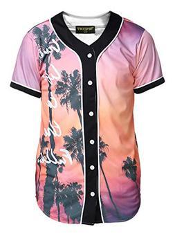 PIZOFF Short Sleeve Baseball Collar Arc Bottom 3D Sunset Pri