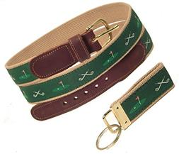 Preston Leather Golf Clubs/18th Hole Belt, Green , Sizes 30