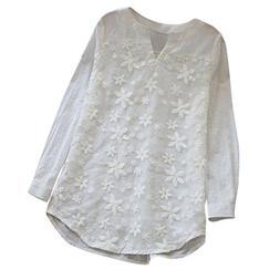 Trendinao Women Sweatshirt Floral Lace Embroidery V-Neck Lon