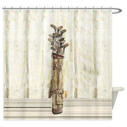CafePress Antique Watercolor Golf Clubs Shower Curtain
