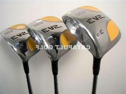 BIG SQUARE YELLOW FAIRWAY WOODS # 3 5 7 SET GOLF CLUBS