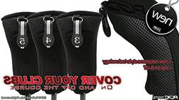 Black All Hybrid Headcover Set 3 4 5 Golf Club Covers Head C