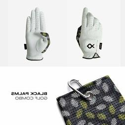 Black Palms Set - 2 Premium Golf Gloves + Matching towel