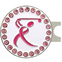 Giggle Golf Bling Pink Ribbon Golfer Golf Ball Marker with A