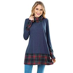 KCatsy Womens Blouse Long Sleeve Turtle Neck Spliced Plaid P