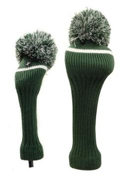 Classic Knit Spandex Pom Pom Golf Headcovers for Drivers, Fa