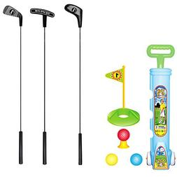 TOPTIK Deluxe Kids Toddler Golf Clubs Set,3 Types of Clubs w