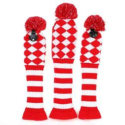 Volf Golf Driver Fairway Woods Club Knit Headcover Set Red/W