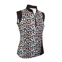 Monterey Club Ladies Dry Swing Fun Leopard Colorblock Sleeve
