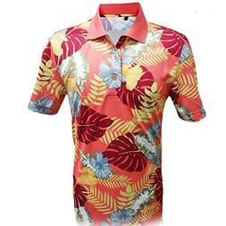 Monterey Club Mens Dry Swing Wooden Hawaiian Print Polo Shir