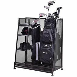 Goplus Dual Golf Organizer Storage Rack Fit 1 2 Golf Bags Cl