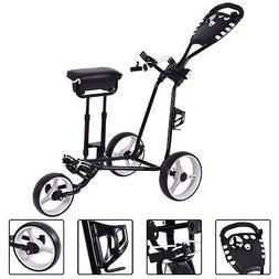 Foldable 3 Wheel Push Pull Golf  Club Cart Trolley w/Stool S