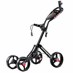 Folding 4 Wheel Golf Pull Push Cart Trolley Club Umbrella Sc