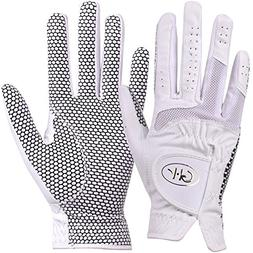 GH Women's Leather Golf Gloves One Pair - Plain Both Hands )