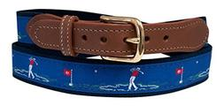 Golf Belt, Embroidered Golfer on Navy Web 40