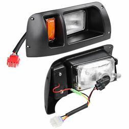 Golf Cart Halogen Headlight Rear LED Light Black Bezel Kit f