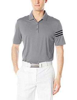adidas Golf Men's Climacool 3 Stripe Club Polo, Mid Grey, La