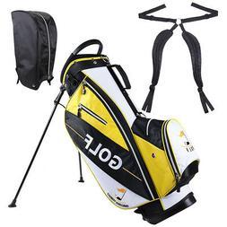Golf Club Bag with Metal Stand 14-way Top 7 Pockets Free Rai