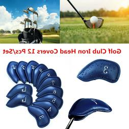 Golf Club Headcovers Iron 12 Pcs Set Head Covers 3-SW Pu Lea