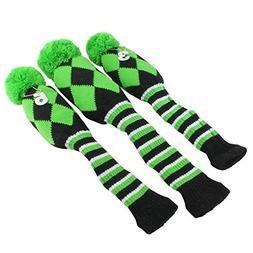 Golf Club Knit Head Cover 3pcs Headcover Set Vintange Pom Po