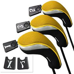 Andux Golf Driver Wood Head Covers Interchangeable No. Tag 3