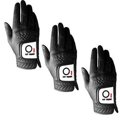 Mens Golf Glove Rain Grip Value 3 Pack, Black White Left Han