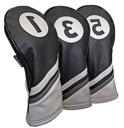 golf headcovers black white leather