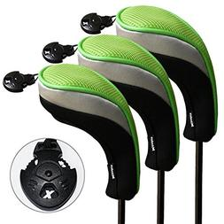 Andux 3 Pack Golf Hybrid Club Head Covers Interchangeable No