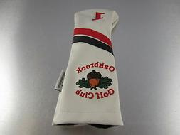 Sunfish Golf Leather DRIVER HEADCOVER Oakbrook Golf Club Whi