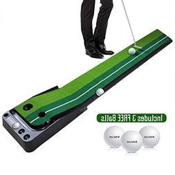 WINCAN Golf Putting Mat Green Indoor Outdoor–Auto Ball Ret