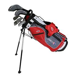 US Kids Golf UL54 7-Club DV2 Stand Bag Set, Right Hand, Red/