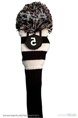 Majek #5 Hybrid Rescue Utility Black & White Golf Headcover