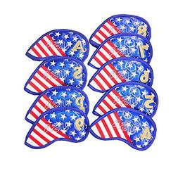 Golf Iron Covers Usa Flag Design Thick Synthetic Leather Gol