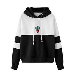 iYBUIA Womens Cotton Long Sleeve Cactus Print Hoodie Sweatsh